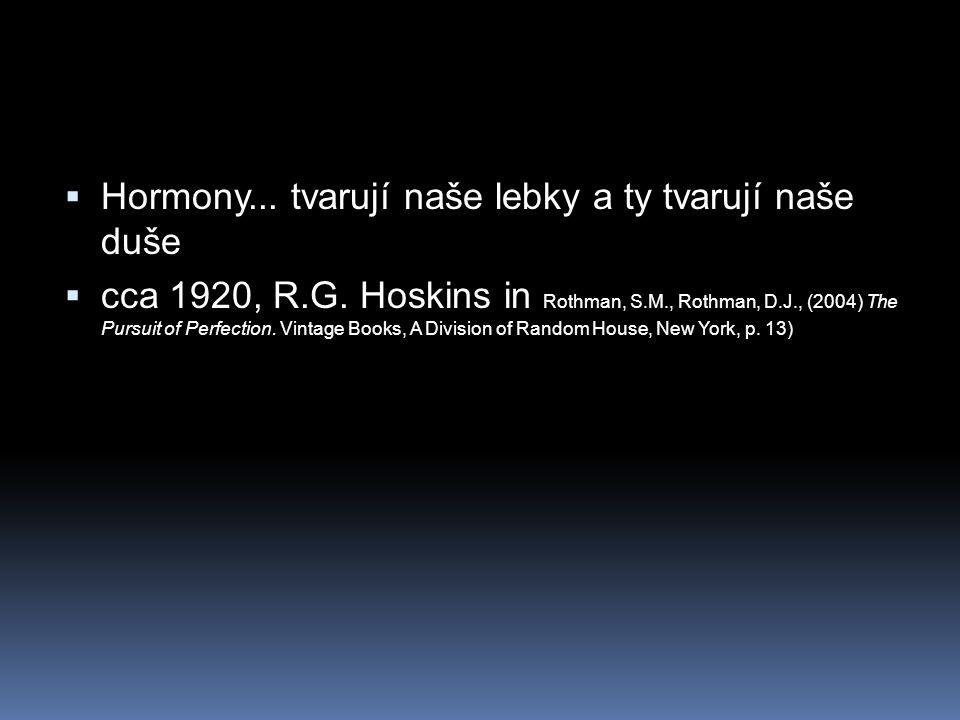  Hormony... tvarují naše lebky a ty tvarují naše duše  cca 1920, R.G. Hoskins in Rothman, S.M., Rothman, D.J., (2004) The Pursuit of Perfection. Vin