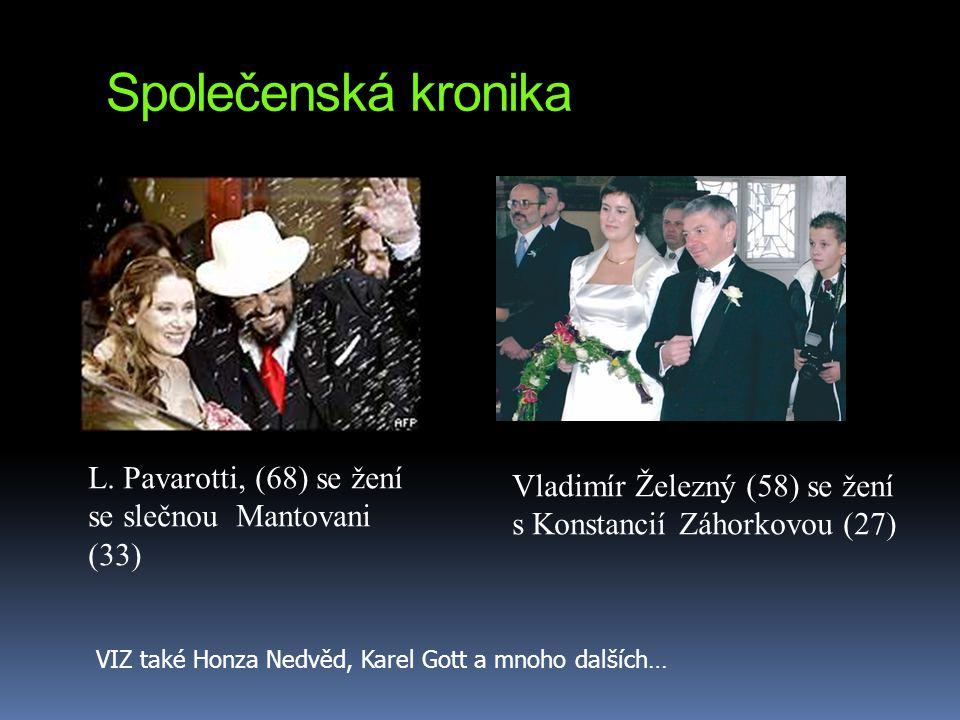 Společenská kronika L. Pavarotti, (68) se žení se slečnou Mantovani (33) Vladimír Železný (58) se žení s Konstancií Záhorkovou (27) VIZ také Honza Ned