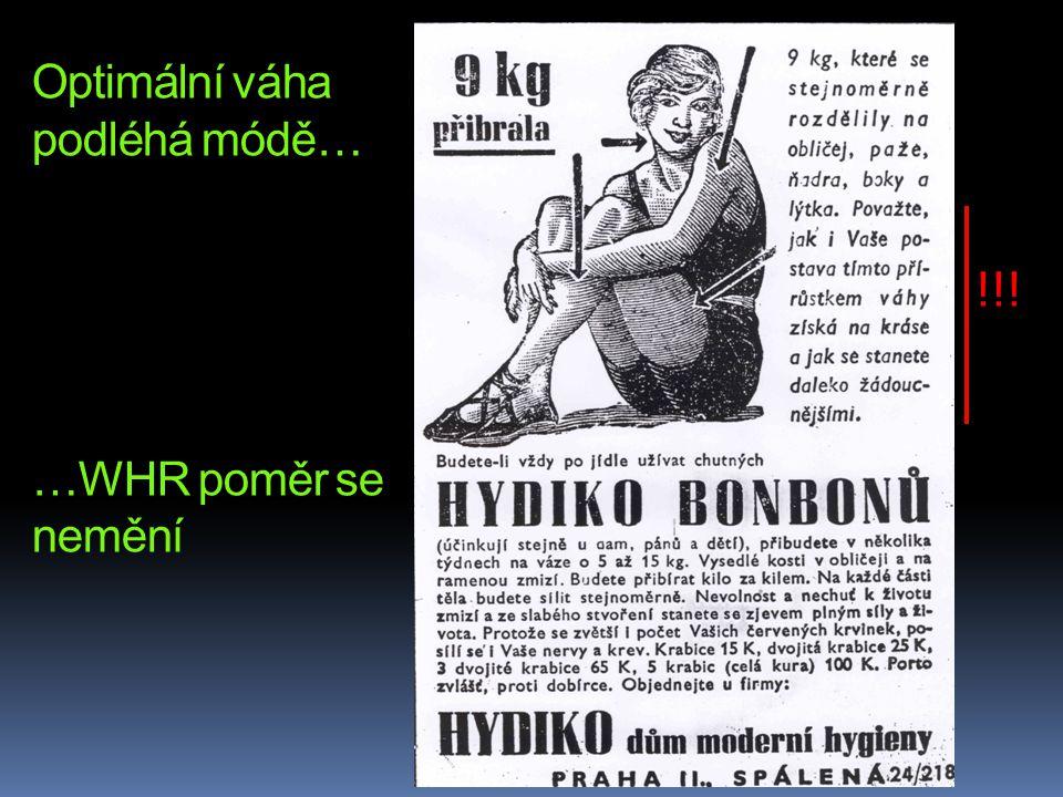 Optimální váha podléhá módě… …WHR poměr se nemění !!!