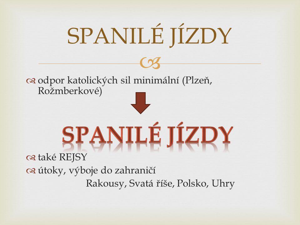   odpor katolických sil minimální (Plzeň, Rožmberkové)  také REJSY  útoky, výboje do zahraničí Rakousy, Svatá říše, Polsko, Uhry SPANILÉ JÍZDY