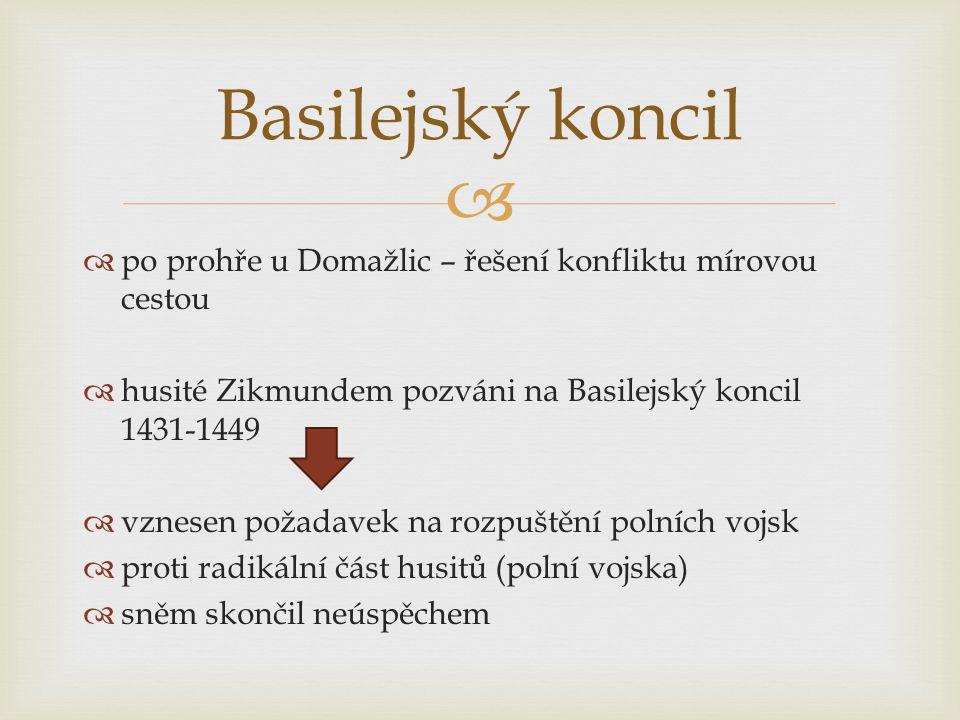   po prohře u Domažlic – řešení konfliktu mírovou cestou  husité Zikmundem pozváni na Basilejský koncil 1431-1449  vznesen požadavek na rozpuštění polních vojsk  proti radikální část husitů (polní vojska)  sněm skončil neúspěchem Basilejský koncil