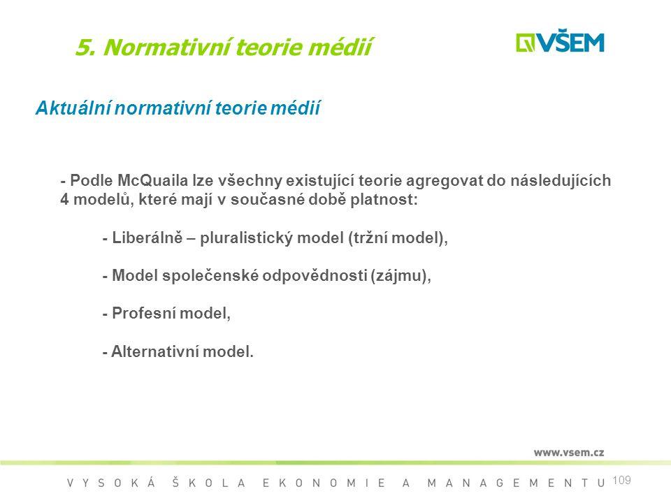 109 5. Normativní teorie médií Aktuální normativní teorie médií - Podle McQuaila lze všechny existující teorie agregovat do následujících 4 modelů, kt
