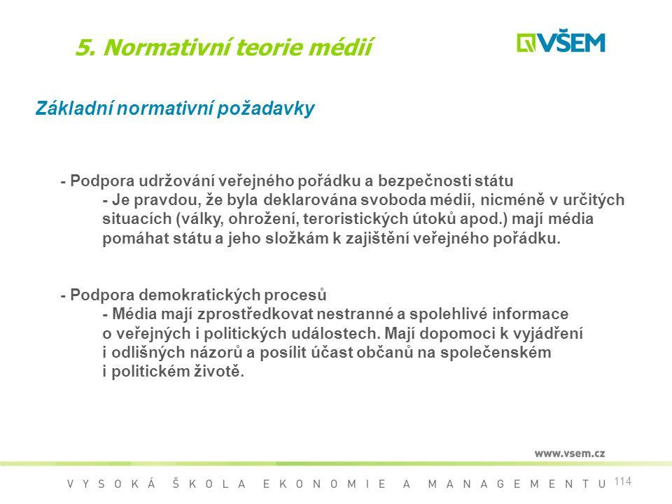 114 5. Normativní teorie médií Základní normativní požadavky - Podpora udržování veřejného pořádku a bezpečnosti státu - Je pravdou, že byla deklarová