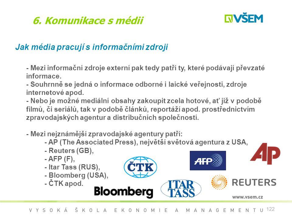 122 6. Komunikace s médii Jak média pracují s informačními zdroji - Mezi informační zdroje externí pak tedy patří ty, které podávají převzaté informac