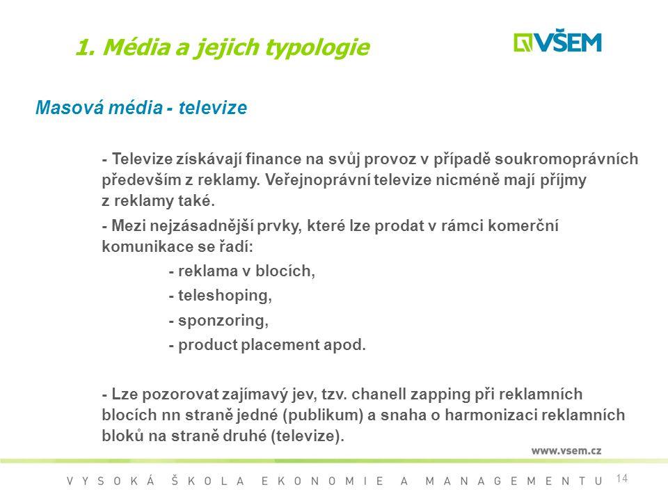 14 1. Média a jejich typologie Masová média - televize - Televize získávají finance na svůj provoz v případě soukromoprávních především z reklamy. Veř