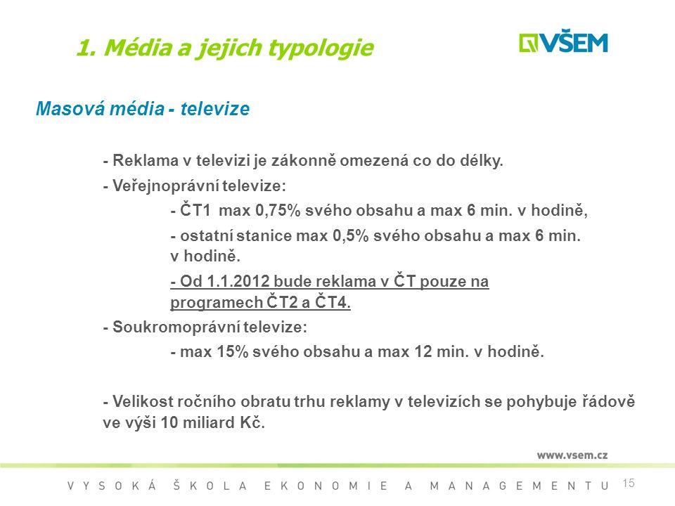 15 1. Média a jejich typologie Masová média - televize - Reklama v televizi je zákonně omezená co do délky. - Veřejnoprávní televize: - ČT1 max 0,75%