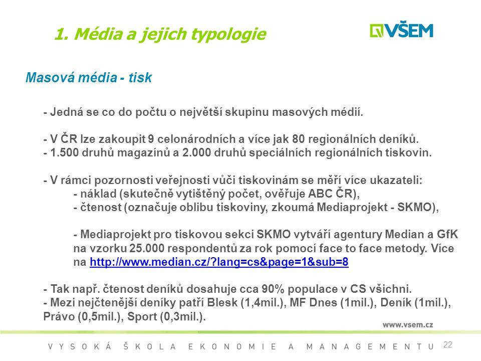 22 1. Média a jejich typologie Masová média - tisk - Jedná se co do počtu o největší skupinu masových médií. - V ČR lze zakoupit 9 celonárodních a víc