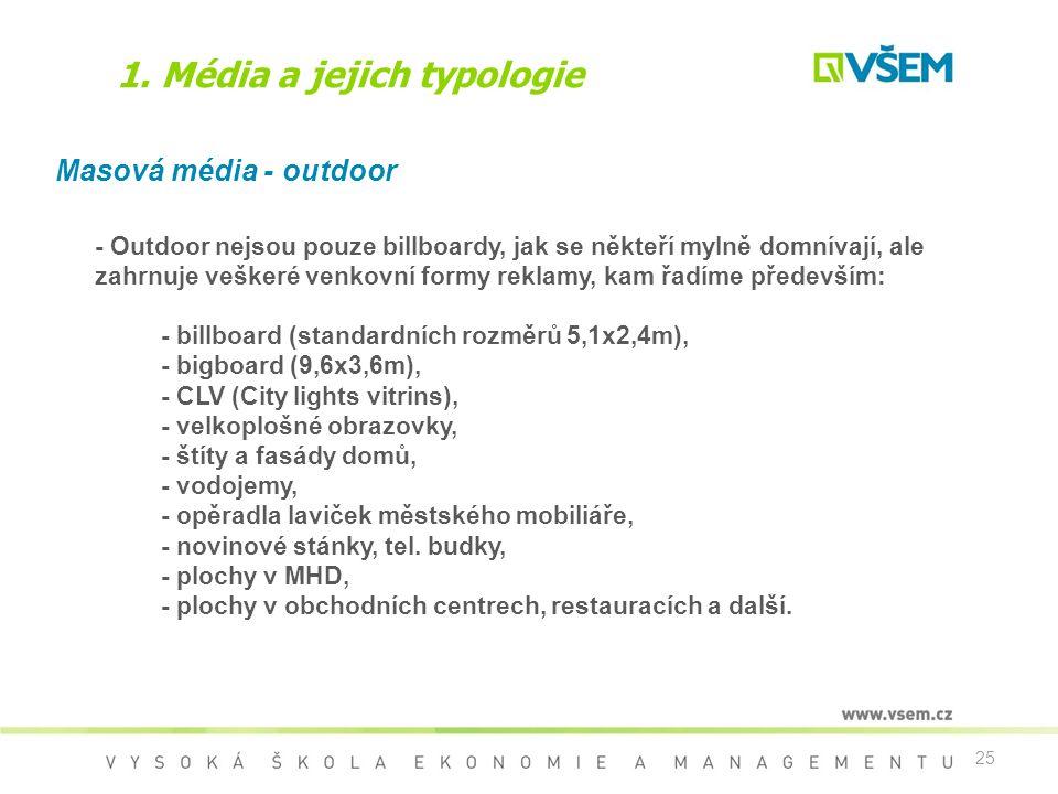 25 1. Média a jejich typologie Masová média - outdoor - Outdoor nejsou pouze billboardy, jak se někteří mylně domnívají, ale zahrnuje veškeré venkovní