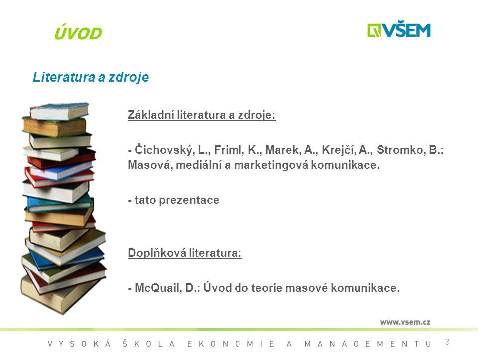 3 ÚVOD Literatura a zdroje Základní literatura a zdroje: - Čichovský, L., Friml, K., Marek, A., Krejčí, A., Stromko, B.: Masová, mediální a marketingo