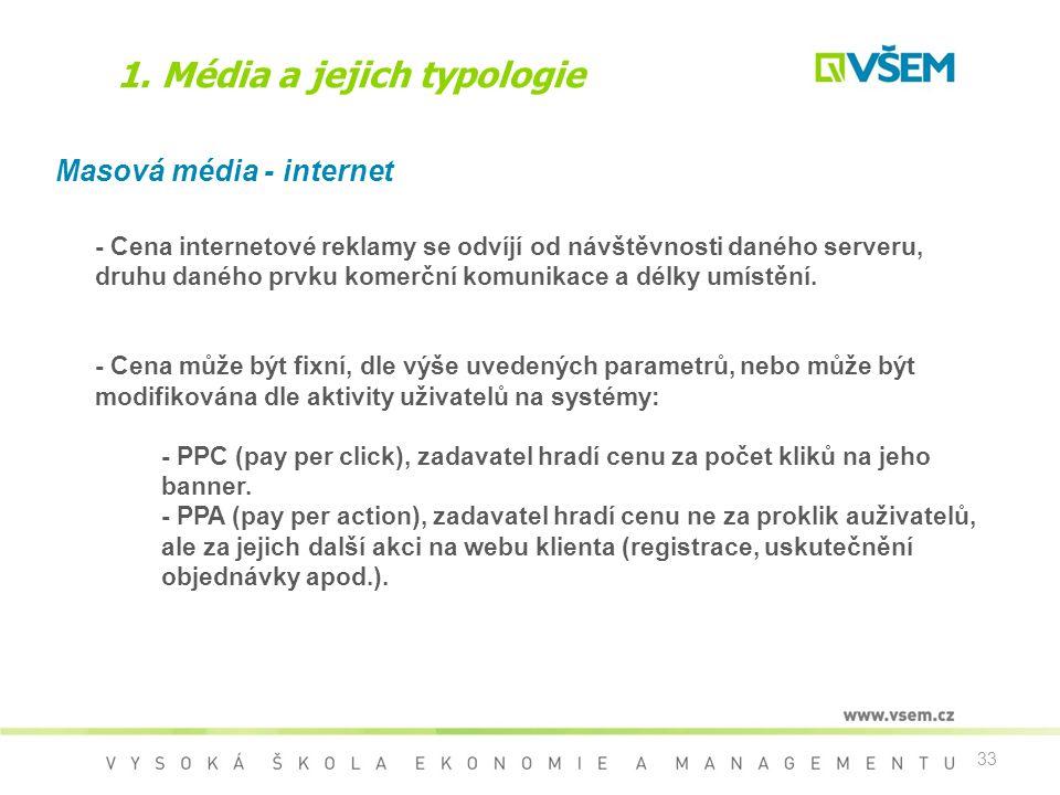 33 1. Média a jejich typologie Masová média - internet - Cena internetové reklamy se odvíjí od návštěvnosti daného serveru, druhu daného prvku komerčn