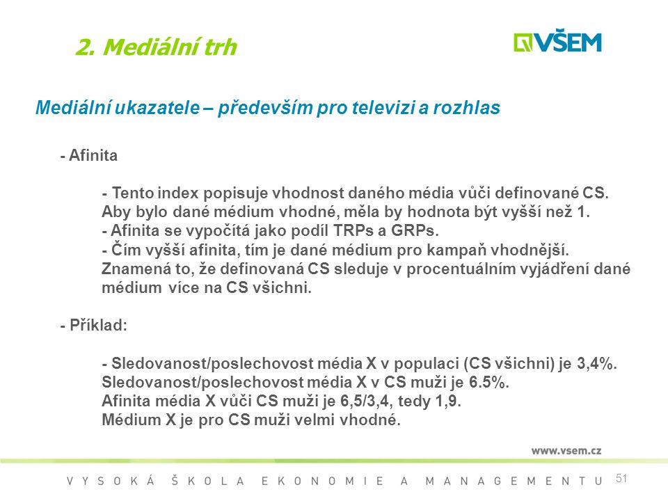 51 2. Mediální trh Mediální ukazatele – především pro televizi a rozhlas - Afinita - Tento index popisuje vhodnost daného média vůči definované CS. Ab