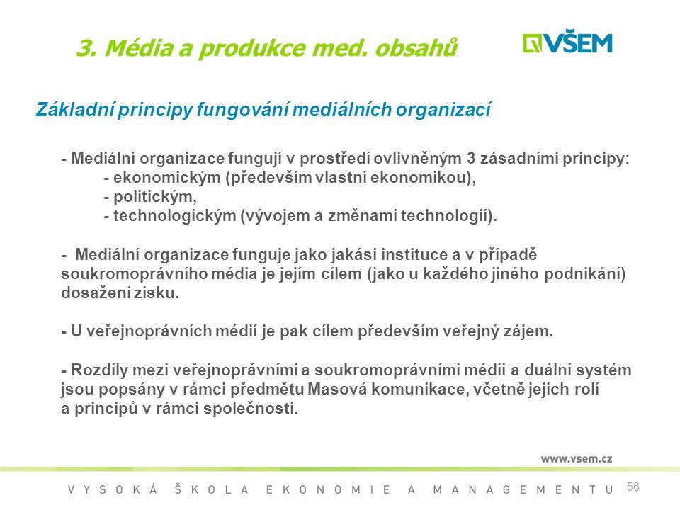 56 3. Média a produkce med. obsahů Základní principy fungování mediálních organizací - Mediální organizace fungují v prostředí ovlivněným 3 zásadními