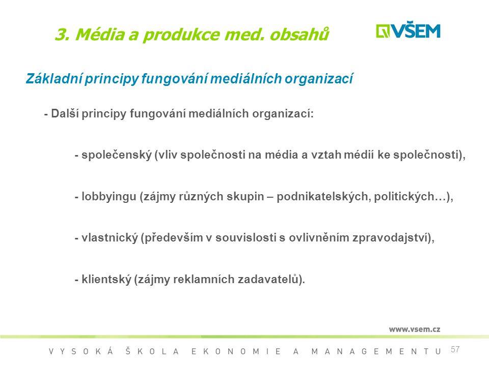 57 3. Média a produkce med. obsahů Základní principy fungování mediálních organizací - Další principy fungování mediálních organizací: - společenský (