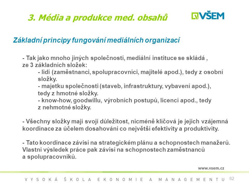 62 3. Média a produkce med. obsahů Základní principy fungování mediálních organizací - Tak jako mnoho jiných společností, mediální instituce se skládá