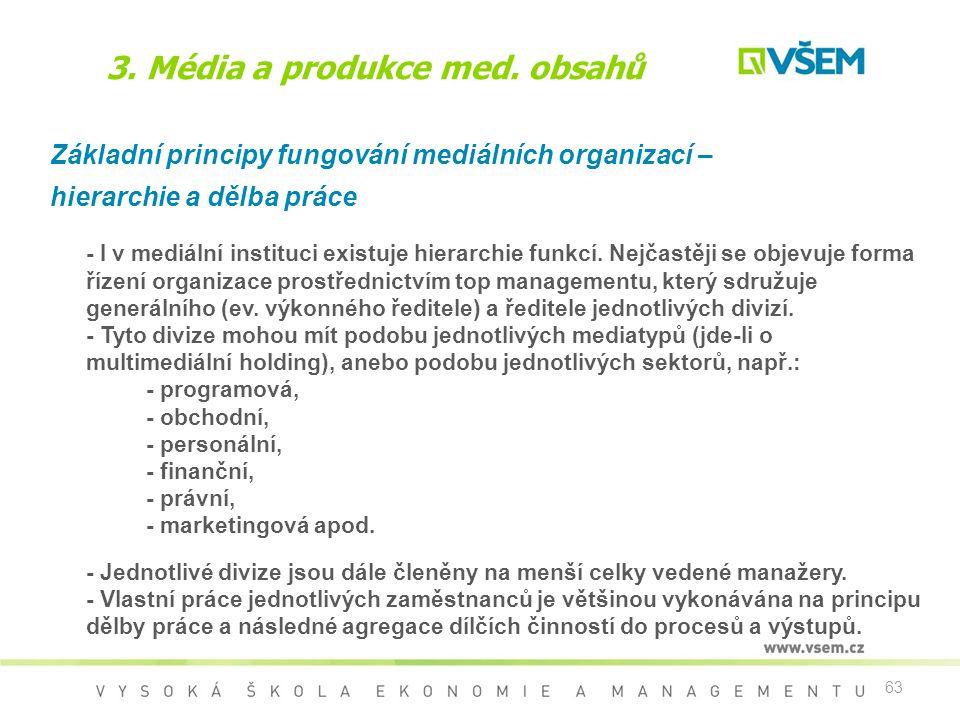 63 3. Média a produkce med. obsahů Základní principy fungování mediálních organizací – hierarchie a dělba práce - I v mediální instituci existuje hier