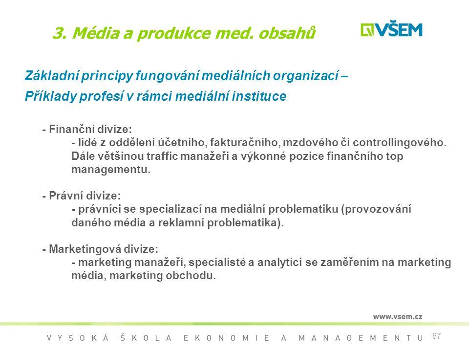 67 3. Média a produkce med. obsahů Základní principy fungování mediálních organizací – Příklady profesí v rámci mediální instituce - Finanční divize: