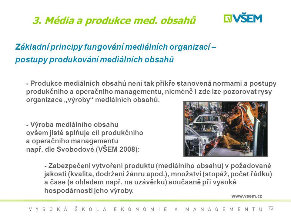 72 3. Média a produkce med. obsahů Základní principy fungování mediálních organizací – postupy produkování mediálních obsahů - Produkce mediálních obs