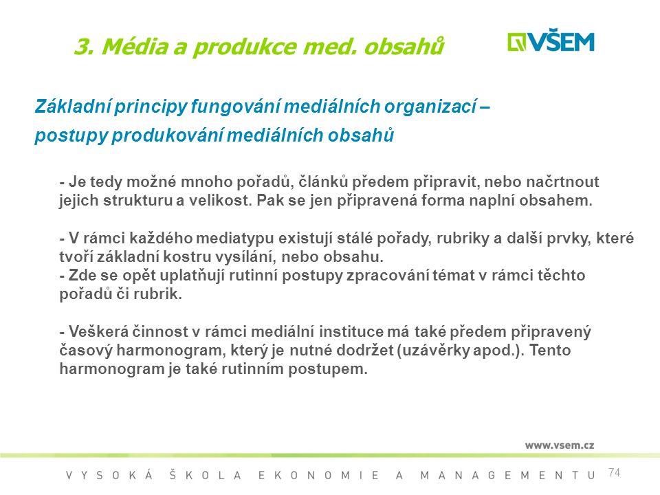 74 3. Média a produkce med. obsahů Základní principy fungování mediálních organizací – postupy produkování mediálních obsahů - Je tedy možné mnoho poř