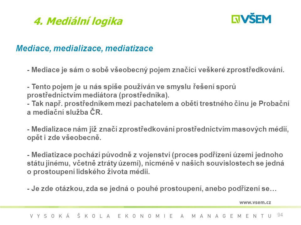 94 4. Mediální logika Mediace, medializace, mediatizace - Mediace je sám o sobě všeobecný pojem značící veškeré zprostředkování. - Tento pojem je u ná