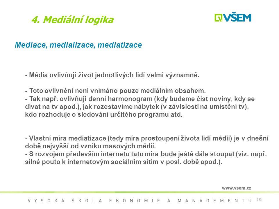 95 4. Mediální logika Mediace, medializace, mediatizace - Média ovlivňují život jednotlivých lidí velmi významně. - Toto ovlivnění není vnímáno pouze