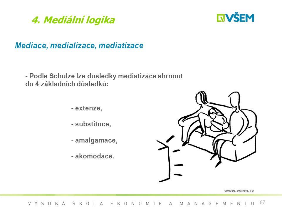 97 4. Mediální logika Mediace, medializace, mediatizace - Podle Schulze lze důsledky mediatizace shrnout do 4 základních důsledků: - extenze, - substi