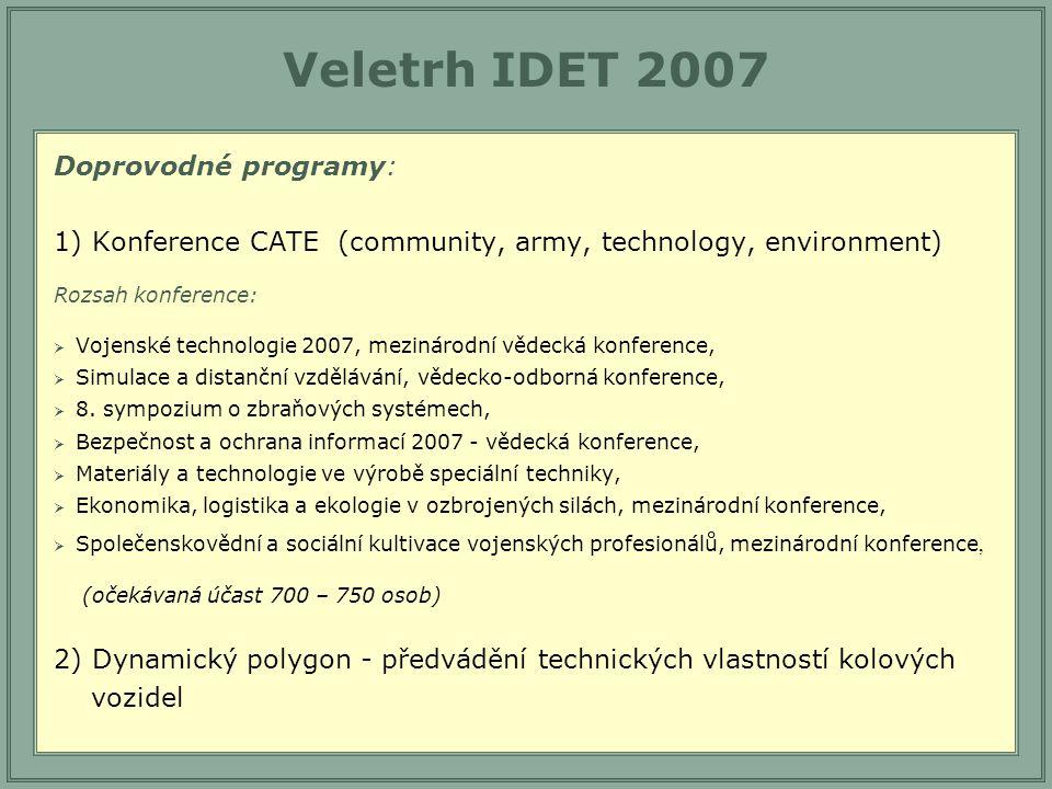 Veletrh IDET 2007 Doprovodné programy: 1) Konference CATE (community, army, technology, environment) Rozsah konference:  Vojenské technologie 2007, mezinárodní vědecká konference,  Simulace a distanční vzdělávání, vědecko-odborná konference,  8.