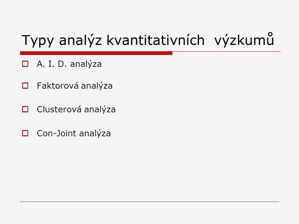 Typy analýz kvantitativních výzkumů  A. I. D. analýza  Faktorová analýza  Clusterová analýza  Con-Joint analýza