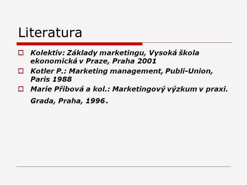 Literatura  Kolektiv: Základy marketingu, Vysoká škola ekonomická v Praze, Praha 2001  Kotler P.: Marketing management, Publi-Union, Paris 1988  Ma