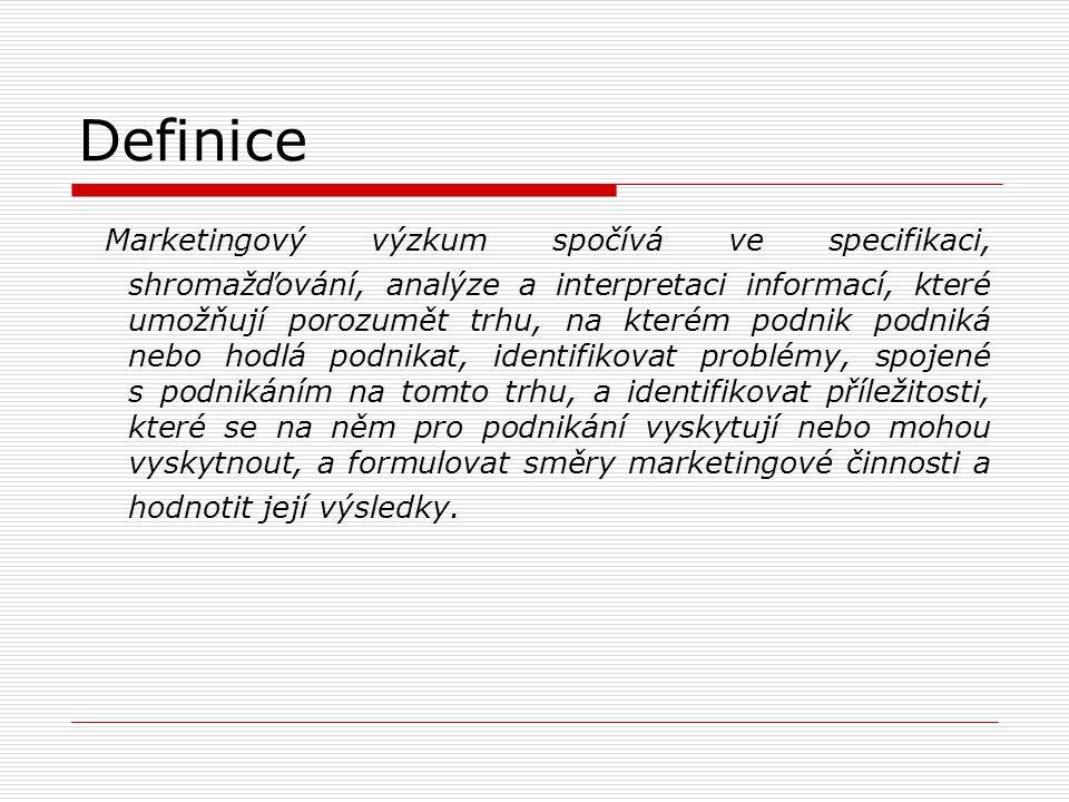 Definice Marketingový výzkum spočívá ve specifikaci, shromažďování, analýze a interpretaci informací, které umožňují porozumět trhu, na kterém podnik
