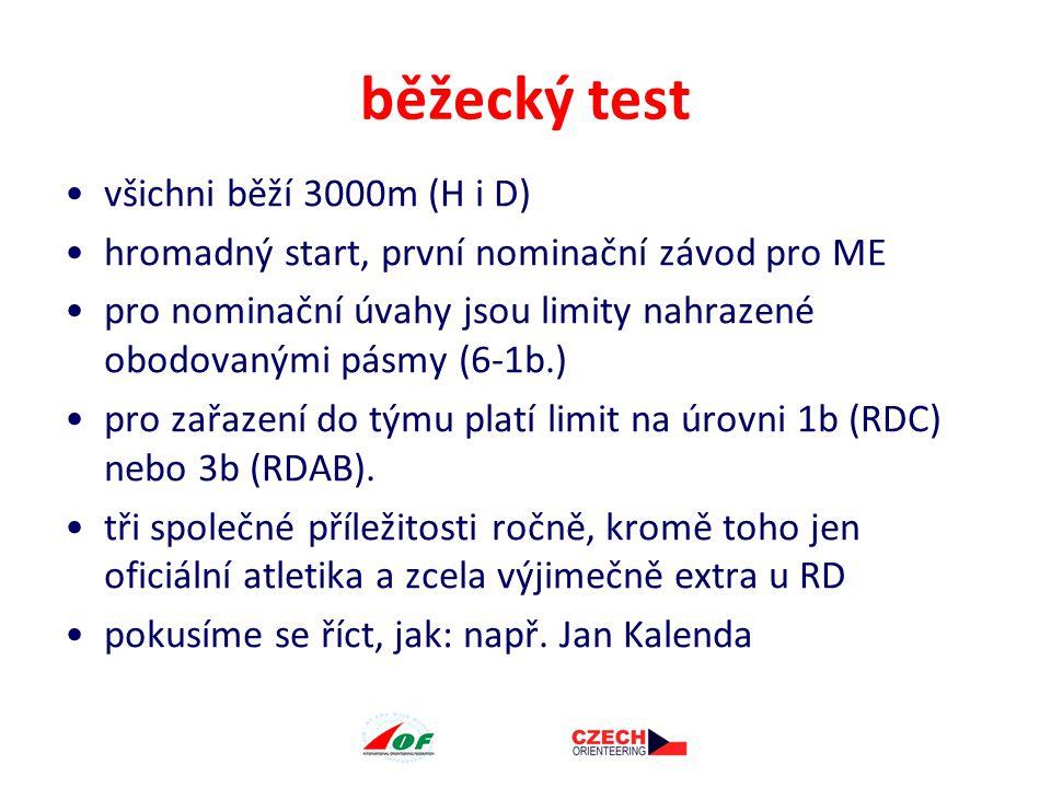 běžecký test všichni běží 3000m (H i D) hromadný start, první nominační závod pro ME pro nominační úvahy jsou limity nahrazené obodovanými pásmy (6-1b.) pro zařazení do týmu platí limit na úrovni 1b (RDC) nebo 3b (RDAB).