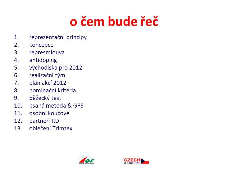 o čem bude řeč 1.reprezentační principy 2.koncepce 3.represmlouva 4.antidoping 5.východiska pro 2012 6.realizační tým 7.plán akcí 2012 8.nominační kritéria 9.běžecký test 10.psaná metoda & GPS 11.osobní koučové 12.partneři RD 13.oblečení Trimtex