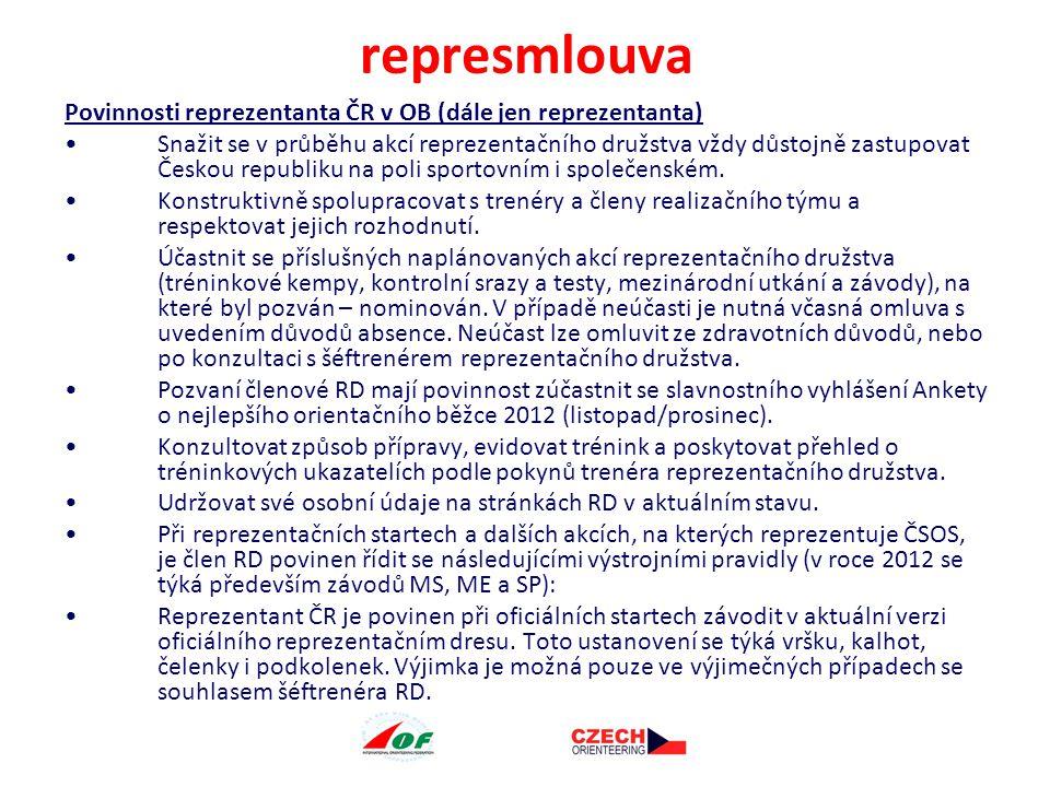 Reprezentant je povinen při vyhlášení vítězů, tiskové konferenci a slavnostních ceremoniálech po dobu trvání oficiální reprezentační akce obléct reprezentační overal (bundu).