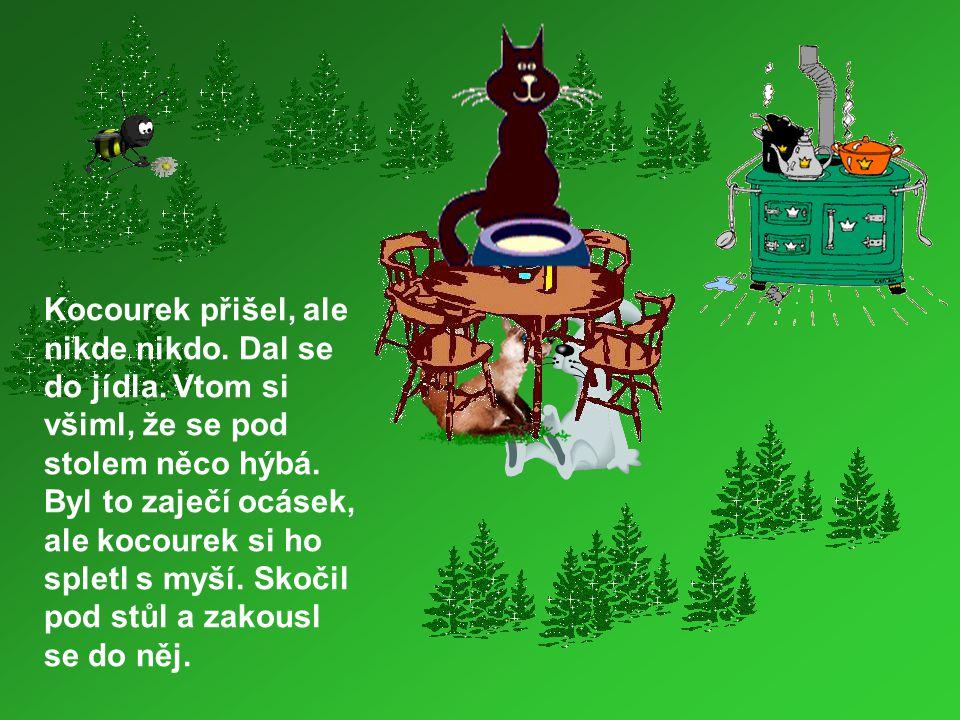 Vyděšený zajíc vyběhl a hlavou vrazil so stromu.Medvěd se lekl a spadl na vlka.