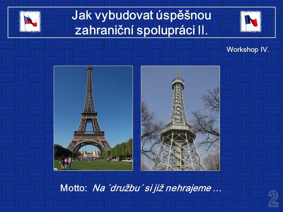 Jak vybudovat úspěšnou zahraniční spolupráci II. Motto: Na ´družbu´ si již nehrajeme … Workshop IV.