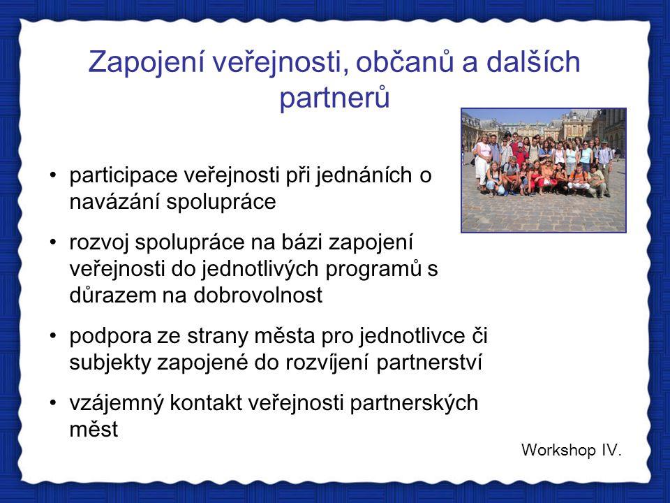 Zapojení veřejnosti, občanů a dalších partnerů Workshop IV. participace veřejnosti při jednáních o navázání spolupráce rozvoj spolupráce na bázi zapoj