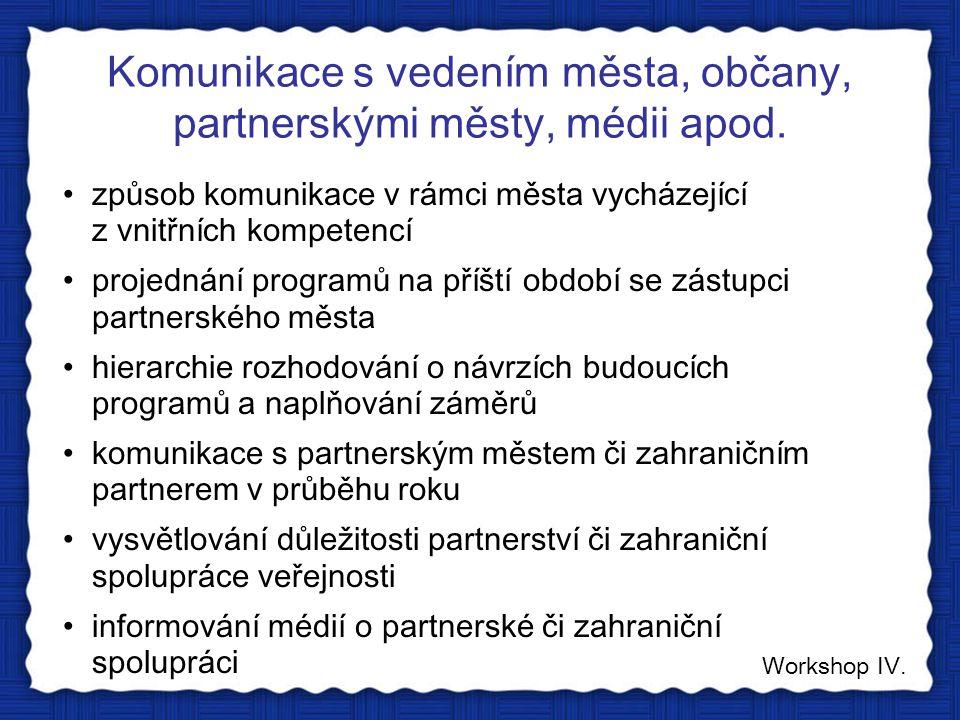 Komunikace s vedením města, občany, partnerskými městy, médii apod. Workshop IV. způsob komunikace v rámci města vycházející z vnitřních kompetencí pr
