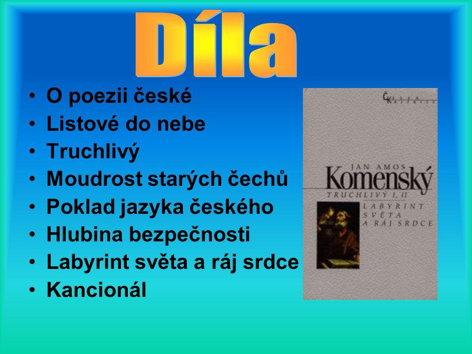 Didactica magna (latinsky Velká didakta) Brána jazyků otevřena Grammatica latina (učebnice latiny) Škola na jevišti Theatrum universitatis rerum (Divadlo světa) Orbis pictus (svět v obrazech)