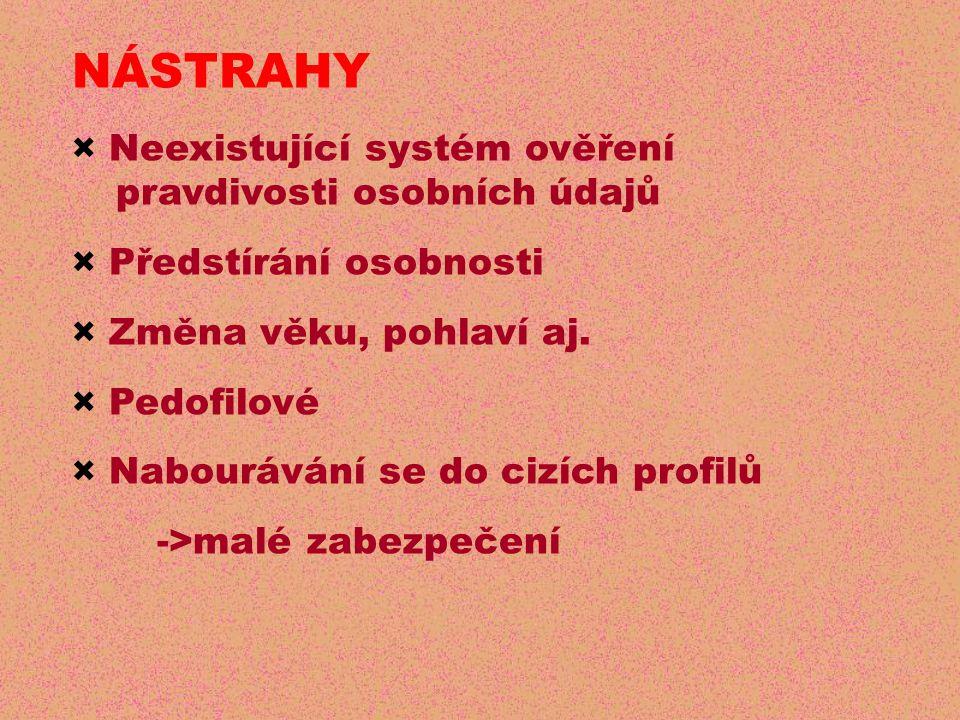 NÁSTRAHY × Neexistující systém ověření pravdivosti osobních údajů × Předstírání osobnosti × Změna věku, pohlaví aj.