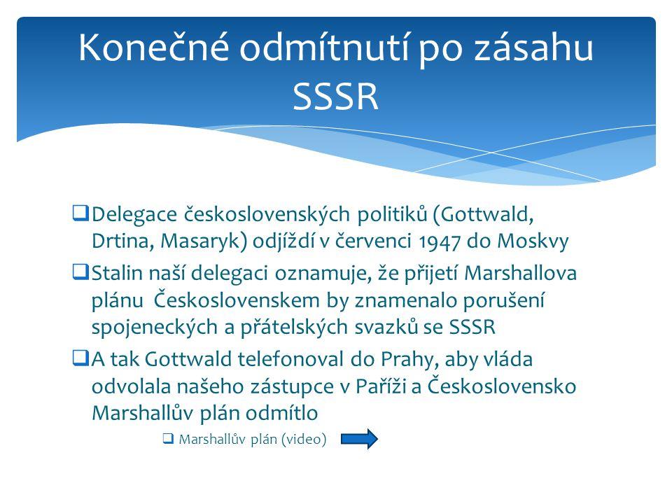  Delegace československých politiků (Gottwald, Drtina, Masaryk) odjíždí v červenci 1947 do Moskvy  Stalin naší delegaci oznamuje, že přijetí Marshal