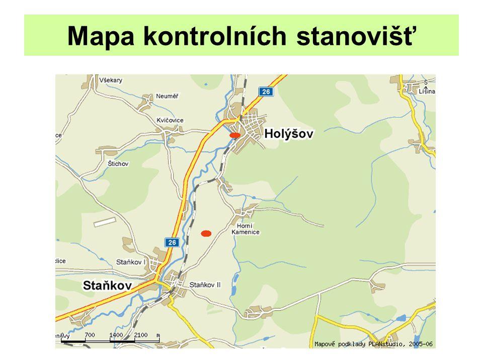 Mapa kontrolních stanovišť
