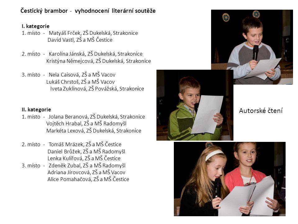Čestický brambor - vyhodnocení literární soutěže I. kategorie 1. místo - Matyáš Frček, ZŠ Dukelská, Strakonice David Vastl, ZŠ a MŠ Čestice 2. místo -