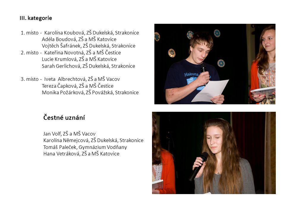 III. kategorie 1. místo - Karolína Koubová, ZŠ Dukelská, Strakonice Adéla Boudová, ZŠ a MŠ Katovice Vojtěch Šafránek, ZŠ Dukelská, Strakonice 2. místo