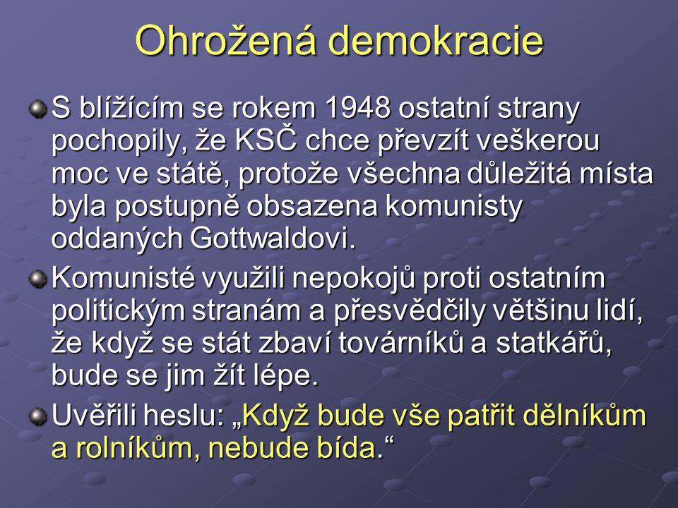 Ohrožená demokracie S blížícím se rokem 1948 ostatní strany pochopily, že KSČ chce převzít veškerou moc ve státě, protože všechna důležitá místa byla postupně obsazena komunisty oddaných Gottwaldovi.
