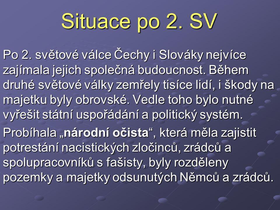 Situace po 2.SV Po 2. světové válce Čechy i Slováky nejvíce zajímala jejich společná budoucnost.