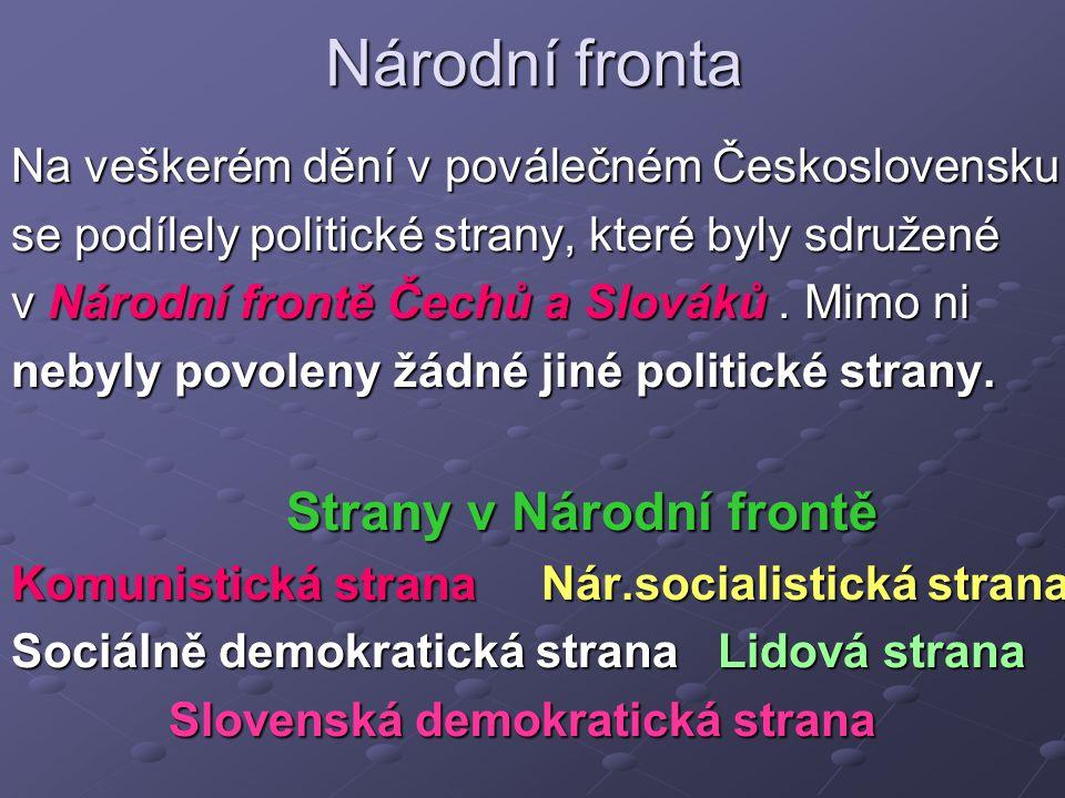 Národní fronta Na veškerém dění v poválečném Československu se podílely politické strany, které byly sdružené v Národní frontě Čechů a Slováků.