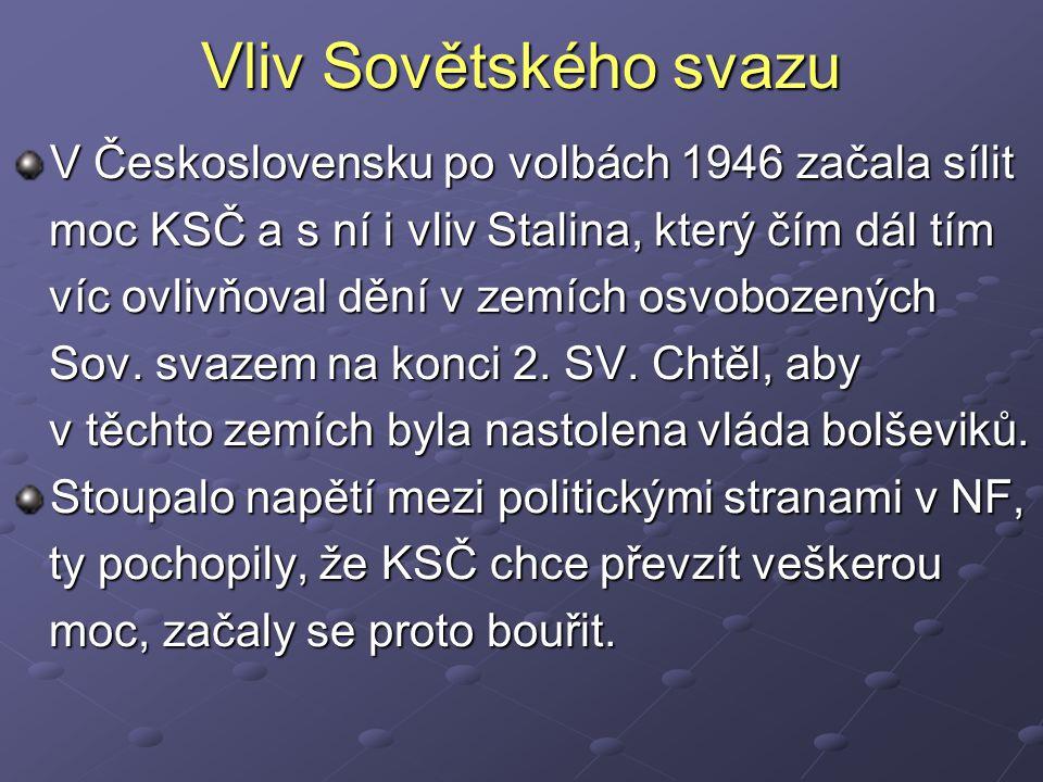 Vliv Sovětského svazu V Československu po volbách 1946 začala sílit moc KSČ a s ní i vliv Stalina, který čím dál tím moc KSČ a s ní i vliv Stalina, který čím dál tím víc ovlivňoval dění v zemích osvobozených víc ovlivňoval dění v zemích osvobozených Sov.