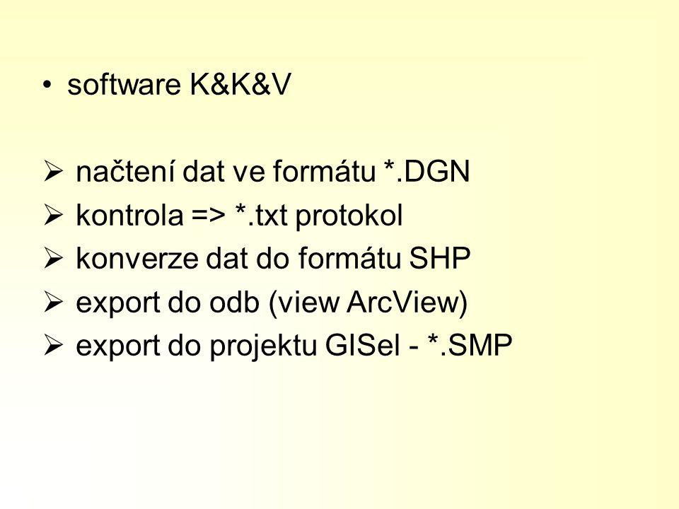 software K&K&V  načtení dat ve formátu *.DGN  kontrola => *.txt protokol  konverze dat do formátu SHP  export do odb (view ArcView)  export do pr