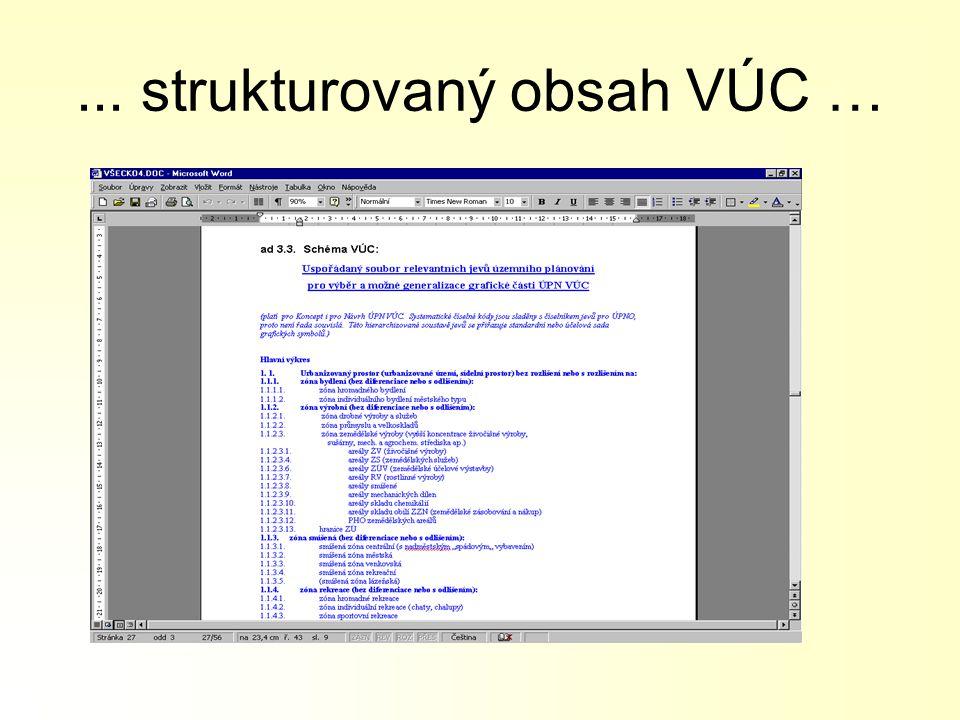 ... strukturovaný obsah VÚC …