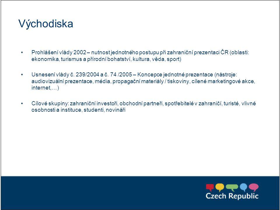 Východiska Prohlášení vlády 2002 – nutnost jednotného postupu při zahraniční prezentaci ČR (oblasti: ekonomika, turismus a přírodní bohatství, kultura