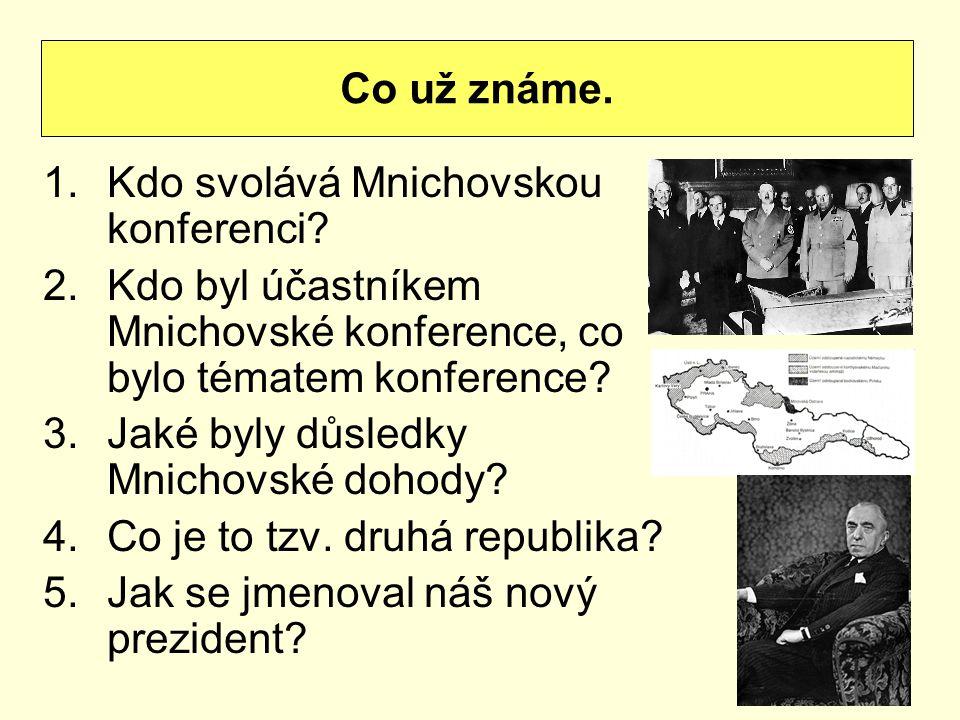 1.Kdo svolává Mnichovskou konferenci? 2.Kdo byl účastníkem Mnichovské konference, co bylo tématem konference? 3.Jaké byly důsledky Mnichovské dohody?